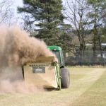 Scarifying to remove spongy & thatchy layer in football pitch